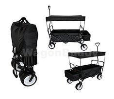 FREE ICE COOLER  BLACK GARDEN UTILITY SHOPPING TRAVEL CART LARGE ALL TERRAIN BEACH TIRES OUTDOOR SPORT COLLAPSIBLE FOLDING WAGON WITH CANOPY COVER  EASY SETUP NO TOOL NECESSARY ** You can get more details by clicking on the image.