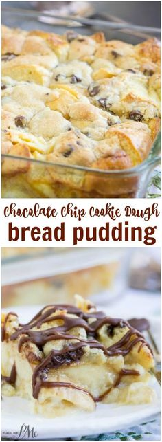 Chocolate Chip Cookie Dough Bread Pudding is indulgent meets comfort in this easy yet rich and satisfying dessert! Chocolate Chip Cookie Dough Bread Pudding is indulgent meets comfort in this easy yet rich and satisfying dessert! Easy Desserts, Delicious Desserts, Yummy Food, Dessert Healthy, Baking Recipes, Cookie Recipes, Dessert Recipes, Dessert Parfait, Breakfast Parfait