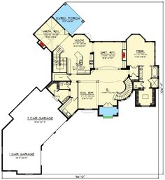 Plan 890001AH: 4 Bed European-Style House Plan with Turreted Stair