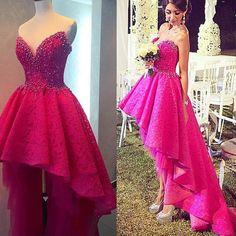 High Low Prom Dresses ,Rhinestones Luxury Lace Prom
