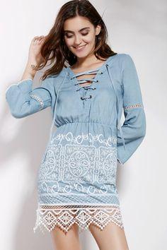 Encaje empalmado cuello en V 3/4 de vestir de manga - Azul S