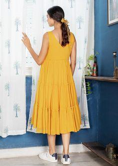 BUTTERSCOTCH NOTCH DRESS Designing Women, Kurti, Summer Dresses, How To Wear, Collection, Tops, Fashion, Moda, Summer Sundresses