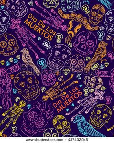 vector seamless pattern to the day of the dead in Mexico . Halloween Festival in the fall . Holiday clowns , scary masks  El dia de los muertos