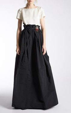 Short Sleeve Faille Gown by ROCHAS for Preorder on Moda Operandi