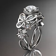 14kt white gold diamond floral, butterfly wedding ring,engagement ......   AnjaysDesigns - Jewelry on ArtFire