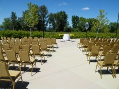 Outdoor Ceremony on our patio. Beautiful weather!
