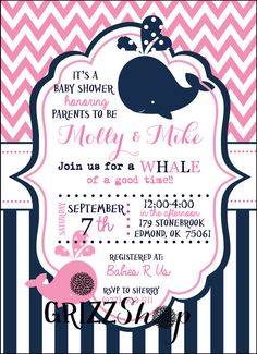 Little Squirt Baby Shower Invitation Template Baby Whale Baby