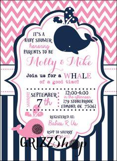 Printable nautical sailboat baby shower invitation whale free pink whale baby shower invitation filmwisefo