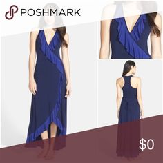Navy Blue Jersey Maxi Dress with Ruffles Preowned but in like new condition by Felicity & Coco. Size Small. Check out my closet, bundle and give me your offer! Felicity & Coco Dresses Maxi