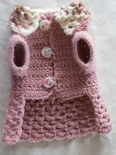 Crocheted pet dog cat clothes apparel sweater dress coat xxs soft rose pink