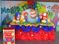 mesa de pastel mario bros - Google Search Sonic Birthday Parties, Sonic Party, Birthday Cake, Mario Bros., Mario Party, Original Gifts, Baby Pictures, Birthday Decorations, Backdrops