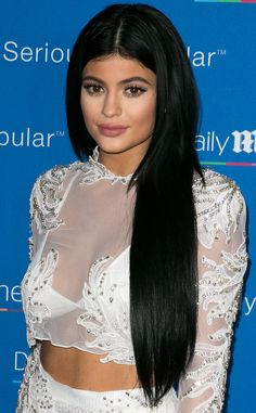 Go Long from Kylie Jenner's Hair Evolution  Extensions it is! She goes long and luxurious with this jet-black hairstyle.