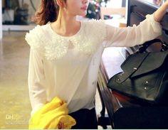 Girls Ruffled Chiffon Blouse Long Sleeve White Blouses Plus Size Fashion Tops Ladies Clothes E5004