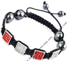 Red Black Nylon Crystal Hematite Bracelets Jewelry Gift