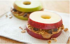 Apple Sandwhich: The BEST snack! Cut off the ends of an apple. Spread peanut butter & add granola and dark chocolate chips!  Healthy & amazing!