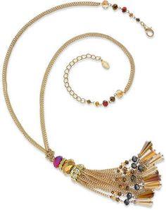 c.A.K.e. by Ali Khan Necklace, Gold-Tone Firebird Glass Bead Tassel Drop Necklace