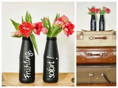 Vase aus Flasche mit Hilfe von Tafellack / Vase made of a bottle coated with black board paint / Upcycling