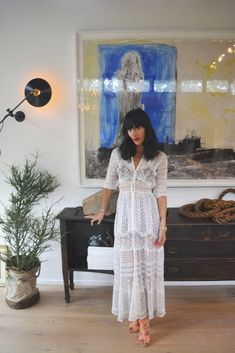 Boho chic / white woven lace dress / style fashion / New Mexico