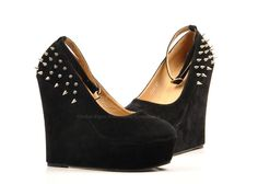 Stud Embellished Suede Leather Wedge Shoes