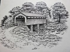 Covered bridge - 9 x cm Nature Sketches Pencil, Landscape Pencil Drawings, Wood Burning Patterns, Wood Burning Art, Colorful Pictures, Art Pictures, Pretty Pictures, Barn Drawing, Bridge Drawing
