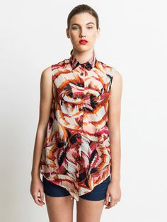 Summer sale summer blouse , sleeveless shirt. floral blouse , buttoned shirt (was 415 ILS) on Etsy, $104.51