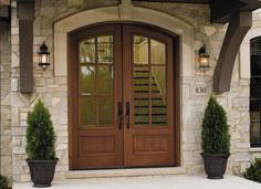 Give your home European elegance with a rustic wood entry door crafted by Pella.  {Pella® Architect Series® wood entry door}