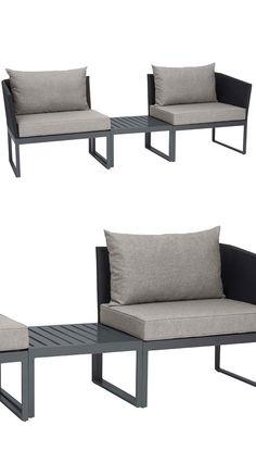 Gartenmöbel Im Minimal Design Als Besonderes Highlight In Deinem Garten    Schwarze Gartenbank Aus Aluminium Und