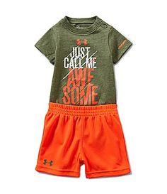 Under Armour Newborn-12 Months Just Call Me Awesome Bodysuit & Shorts Set   Dillards.com