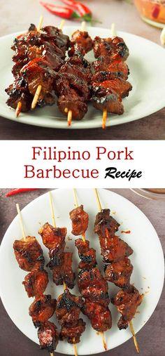 Filipino Pork Barbecue Recipe- This is the best Filipino Pork Barbecue >> Filipino Pork Barbecue Recipe >> Filipino Pork Barbecue Marinade >> Filipino Skewers Pork Barbecue >> Filipino Barbecue Recipe Filipino Pork Barbecue Recipe, Filipino Bbq, Bbq Pork, Barbecue Recipes, Grilling Recipes, Pork Recipes, Cooking Recipes, Recipies, Filipino Dishes