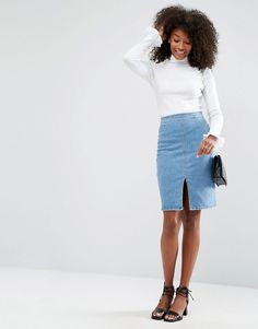 Get this Asos's tube skirt now! Click for more details. Worldwide shipping. ASOS Denim Pencil Skirt with Zip Back in Mid Wash Blue - Blue: Pencil skirt by ASOS Collection, Stretch denim, Mid-wash finish, High-rise waist, Concealed fly, Five pocket design, Front split, Slim fit - cut close to the body, Machine wash, 98% Cotton, 2% Elastane, Our model wears a UK 8/EU 36/US 4 and is 173cm/5'8 tall.  (falda de tubo, tubos, corte de tubo, ajustada, ponti, pencil, stretch, ajustadas, tube, tight…