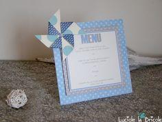 Menu de table moulin à vent pour mariage, baptême, anniversaire ...
