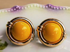 Yellow Domed Clip On Earrings Sunny Gold 80s by dazzledbyvintage