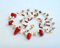 Coral and shell ethnic necklace N573 by Fleur-de-Irk.deviantart.com on @DeviantArt