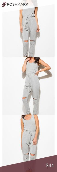"🆕️🌟H. Grey Cut Out Jumpsuit 🌟 Kick back and relax in this! 50% Cotton 35% Rayon 5% Spandex Model is 5'9""  Model is wearing exact product in size small New without tags  Price Firm unless bundled with another item Pants Jumpsuits & Rompers"