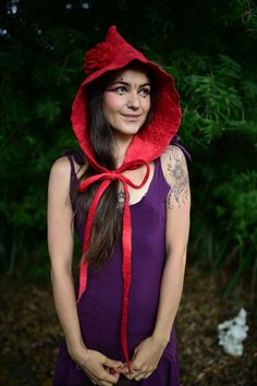 Felt Little Red Riding Hood Bonnet Hooded Hat With by frixiegirl an incredibly beautiful fairytale inspired woodland wonder in striking red felt