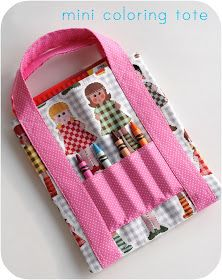 mini coloring tote - make this for the girls so they bring one coloring book to church instead of their entire room!
