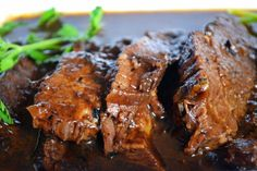 Balsamic Braised Brisket.  Editorial comment: this recipe is knock your socks off awesome!