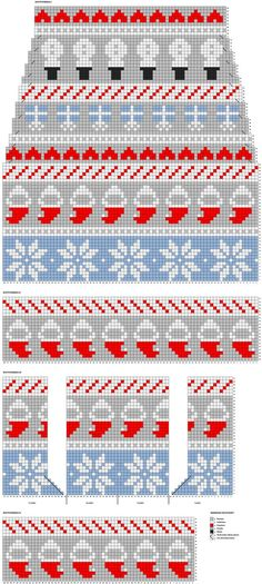 Diy Crochet And Knitting, Knitting Charts, Baby Knitting Patterns, Knitting Stitches, Knitting Socks, Stitch Patterns, Knit Stockings, Knitted Christmas Stockings, Christmas Knitting