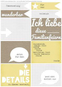 Journaling Cards / Printouts zum Download sowie eine Anleitung, wie man mit Photoshop Elements 8 mehrere Designs auf einmal druckt, von © Dani für www.danipeuss.de