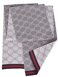 caf466fa6c09c Gucci Men s Wool Grey Reversible GG Guccissima Blue Red Web Scarf Muffler  Soft Wool Grey Reversing to Light Grey GG Guccissima Pattern Measures 70  inches x ...