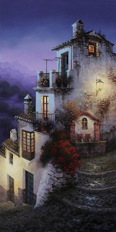 Luis Romero, Spanish painter was born in Ronda, Málaga, Spain. Romero is successful participated in many international exhibitions. Paintings I Love, Colorful Paintings, Beautiful Paintings, Beautiful Landscapes, Spanish Painters, Spanish Artists, Pintura Colonial, Art Watercolor, Fantasy Places
