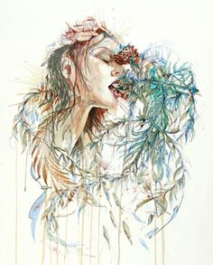 Portraits in Ink and Tea by Carne Griffiths