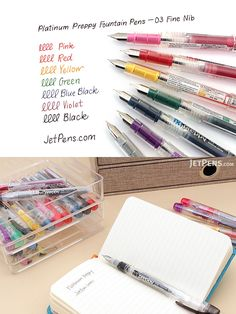 Since its launch in the Preppy fountain pen has captured the spirit of fine writing in a modern, simple, and very affordable form. Stationary Items, Jet Pens, Pen Nib, Artist Trading Cards, Pen Sets, Book Making, Fountain Pens, Ink Color, Notebooks