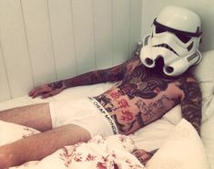 Sexy inked stormtrooper man.