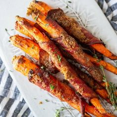 You can't go wrong with maple bacon snuggled up around tender, sweet carrots cooked to perfection in the air fryer. With just 11 minutes in the air fryer, youll have perfectly sweet and savory air fryer bacon wrapped carrots that make a delicious dinner side for the holidays or any day of the week. Tender and crispy bundles of bacon wrapped carrots make great appetizers or side dishes for your main course, and you really cant go wrong with cooking them in the air fryer!