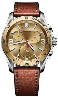 Victorinox Swiss Army® 'Chrono Classic' Leather Strap Watch, 41mm