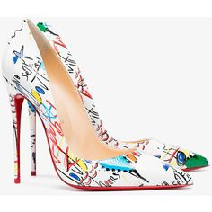 Christian Louboutin Graffiti Leather So kate 120 pumps ($720) ❤ liked on Polyvore featuring shoes, pumps, pointy-toe pumps, leather pumps, high heel pumps, high heeled footwear and christian louboutin pumps
