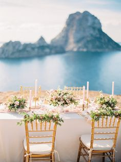 Photographed by Oliver Fly, this styled shoot combines rose quartz and gold to create a stunningly beautiful scene on the island of Ibiza, inspired by the idea of a Mediterranean Goddess. Fine Art Wedding Photography, Wedding Photography Inspiration, Ibiza Wedding, Laetitia, Stunningly Beautiful, Color Of The Year, Pantone Color, Island, Table Decorations