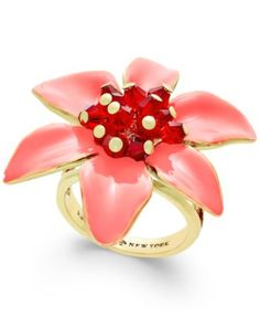 kate spade new york Lovely Lillies Gold-Tone Enamel Flower Statement Ring | macys.com