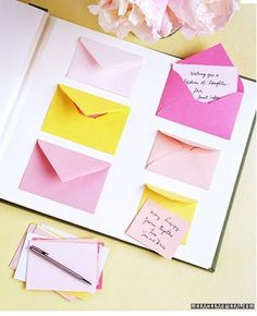 Envelope guest books - Guests draw a card with a prompt (advice for the couple, favorite memory, etc.), fill it out, and stick it in the envelope. Private and fun!